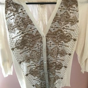 Anthropologie gold sweater with embellishment